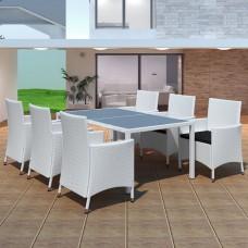 Salon de jardin blanc en résine tressée 6 chaises  et 1 table