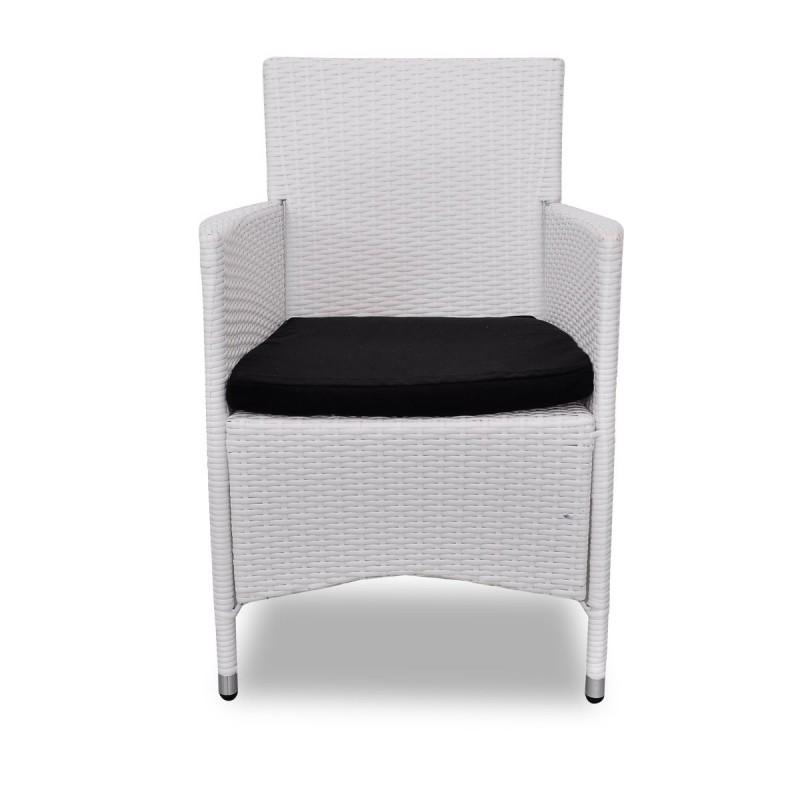 Salon de jardin blanc en résine tressée 6 chaises et 1 table - JA ...
