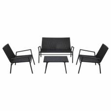 Set de Chaises et Tables en Rotin 4 Pièces Noir