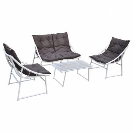 Ensemble Chaise et Table en Rotin Blanc pour Extérieur Set de 4 pièces