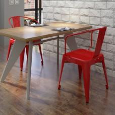 Ensemble de 2 chaises design rouge en acier