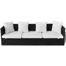 Canapé en polyrotin pas cher avec oreillers et coussins