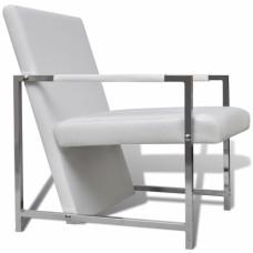 Chaise design blanc  avec pieds chromés