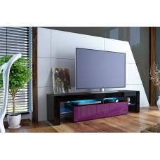 Meuble tv design laqué noir et violet sans led