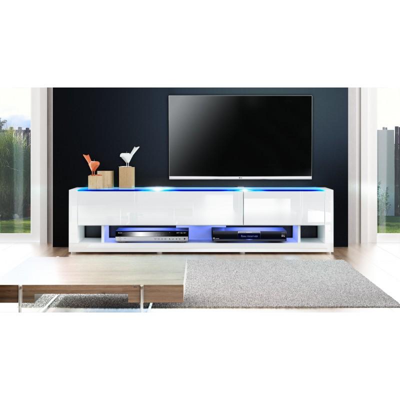 Meuble Tv Design Ibiza A Led : Meuble Tv Design Blanc Avec Led 156 Cm – Ja Discount