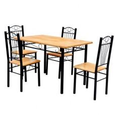 Ensemble de 4 chaises et 1 table en bois brun clair et métal