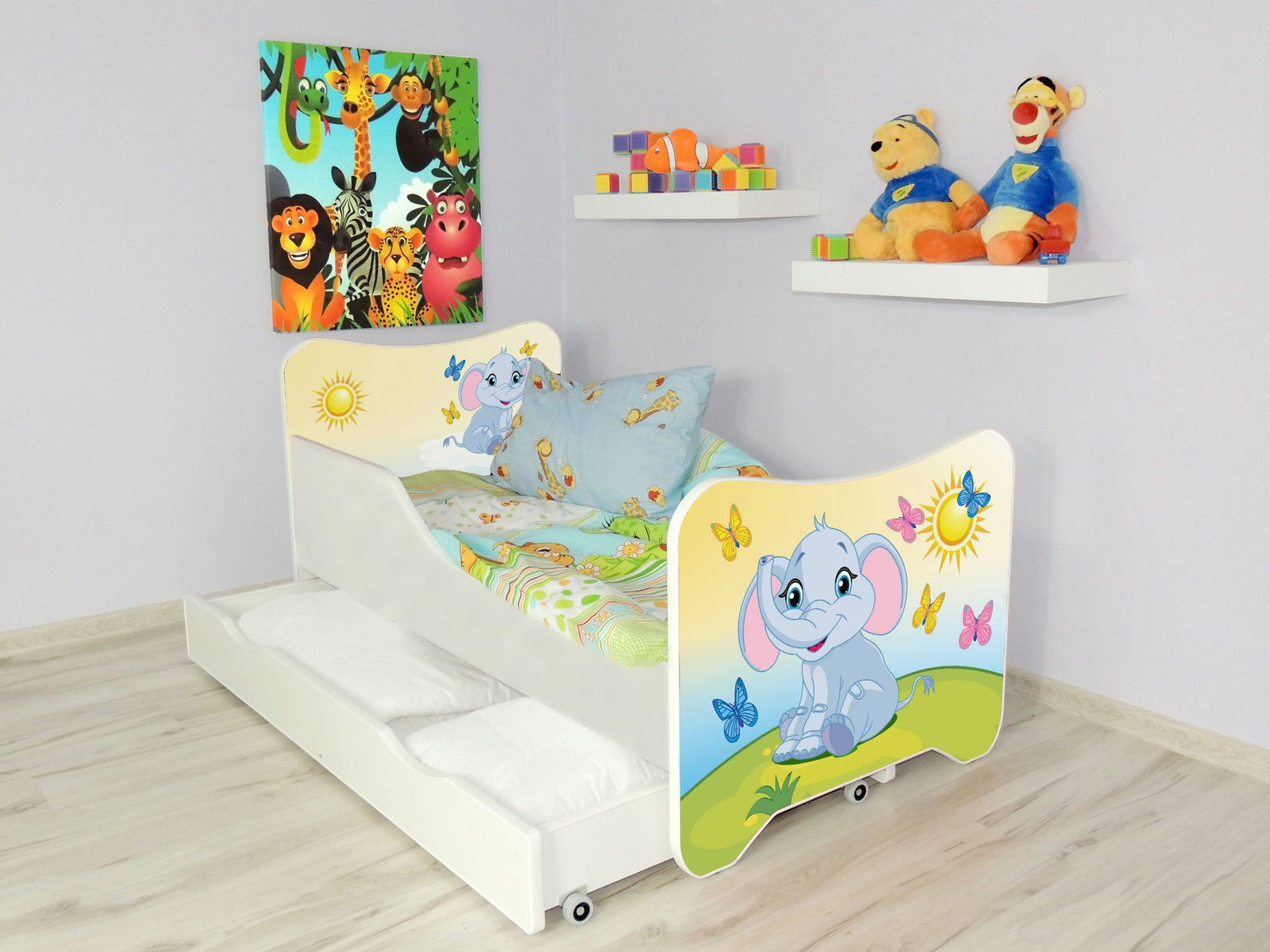 lit enfant et b b 144 x 76 cm avec matelas et tiroirs petit l phant. Black Bedroom Furniture Sets. Home Design Ideas
