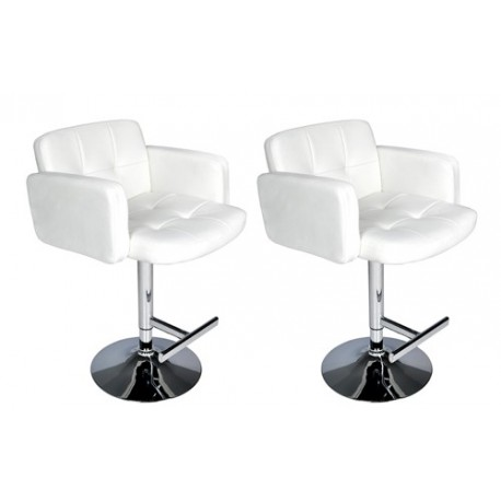 Ensemble de 2 tabourets design blancs