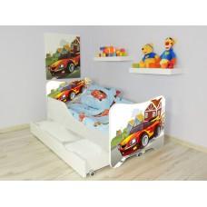 Lit Enfant  et Bébé 144 X 76 cm avec matelas et tiroirs racing car