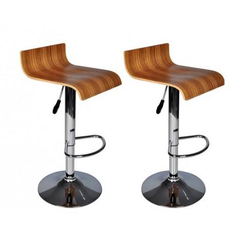Ensemble de 2 tabourets de bar bois design