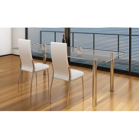 Ensemble de 2 chaises design en simili cuir blanc