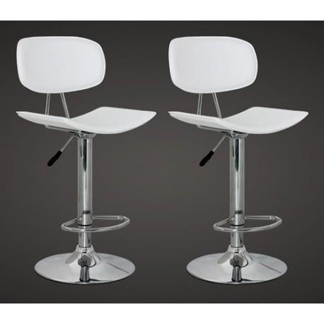 Ensemble de 2 tabourets design en simili cuir blanc