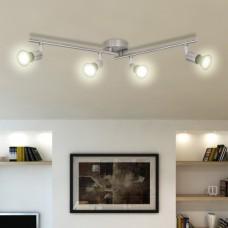 Lampe de Plafond Plafonnier LED Nickel satiné avec 4 ampoules GU10