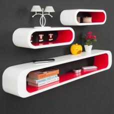 Ensemble  de 3 étagères Cubes Finition brillante blanche-rouge