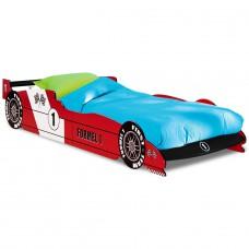 Lit enfant voiture - F1 rouge  avec  sommier lattes -90x190cm