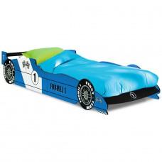 Lit enfant voiture - F1  Bleu  avec  sommier lattes -90x190cm