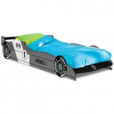 Lit enfant voiture - F1  Grise  avec  sommier lattes -90x190cm