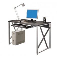 Bureau informatique gris et noir 120 cm
