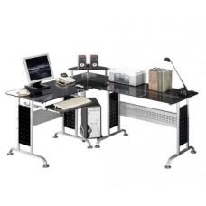 Bureau informatique en verre noir