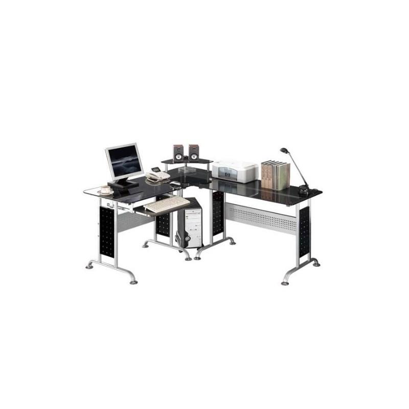 bureau d 39 angle en verre noir. Black Bedroom Furniture Sets. Home Design Ideas