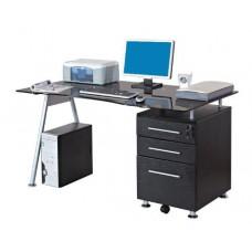 Bureau informatique noir avec plateau en verre