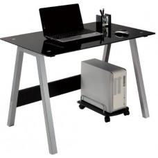 Bureau informatique avec plateau en verre noir