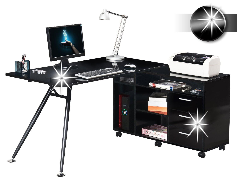 Bureau informatique très brillant noir