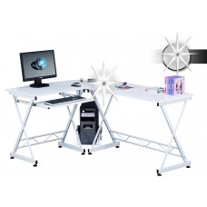 Bureau informatique d'angle blanc