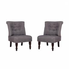 Paire de fauteuils capitonnés  sans accoudoirs gris