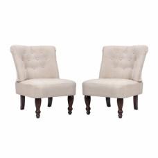 Paire de fauteuils capitonnés sans accoudoirs  bois blanc crème