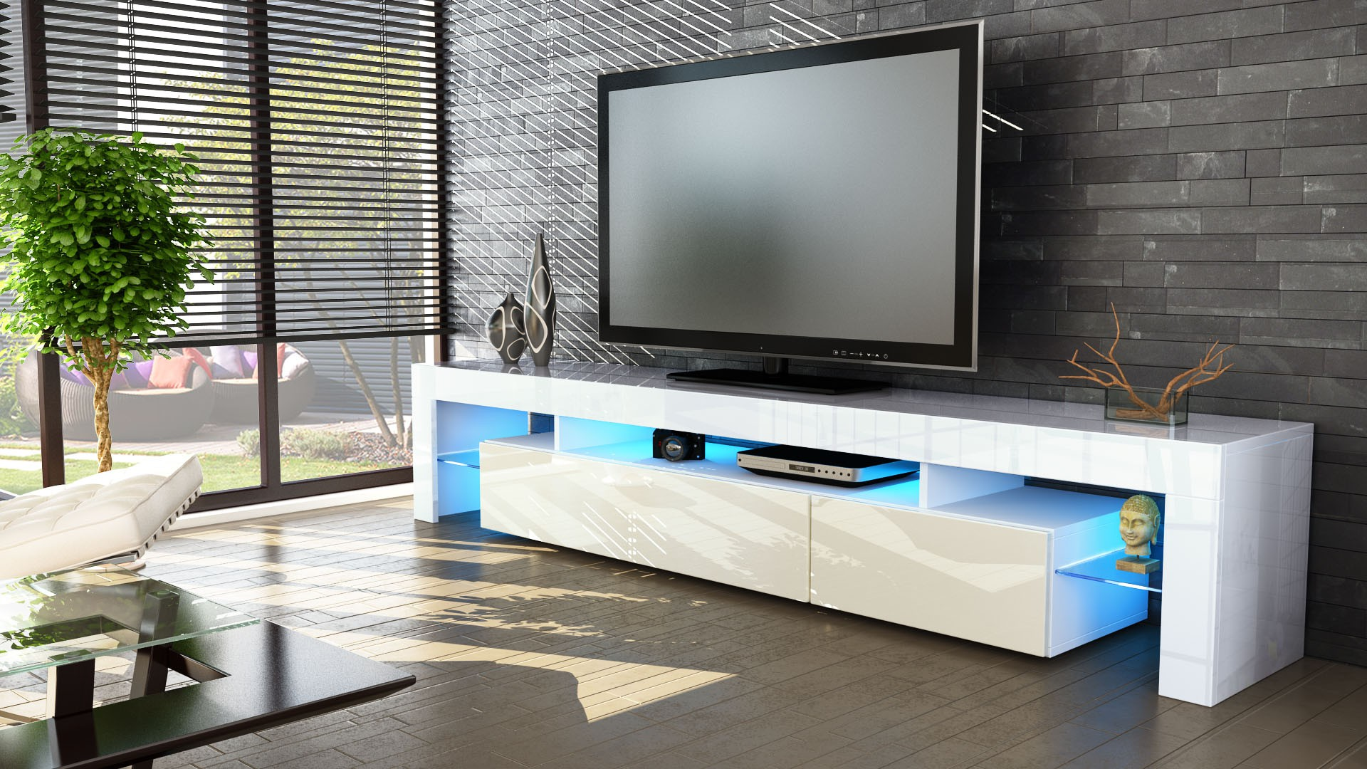 meuble tv blanc et crme 189 cm avec led - Meuble Tv Bas Avec Led