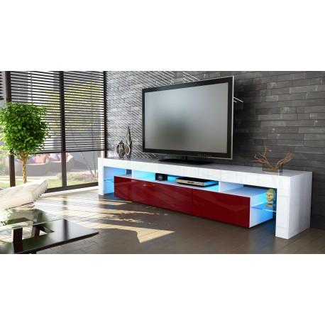 Meuble tv blanc  et  bordeaux  199 cm avec led