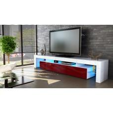 Meuble tv blanc  et  bordeaux  189 cm  sans led