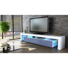 Meuble tv blanc  et  gris 189 cm sans led
