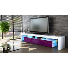 Meuble tv blanc  et  mûre  189 cm sans led