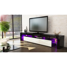 Meuble tv noir et crème  199 cm avec led
