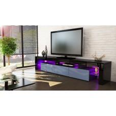 Meuble tv noir et gris189 cm sans led