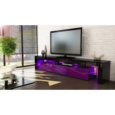 Meuble tv noir et  violet 189 cm sans led