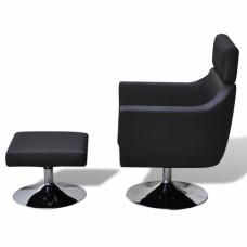Fauteuil Tv en simili cuir noir réglable avec repose-pieds Noir