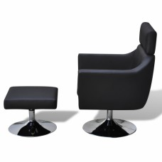 Fauteuil Tv en simili cuir  réglable avec repose-pieds Noir