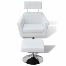 Fauteuil TV en simili cuir  réglable Avec repose-pieds Blanc