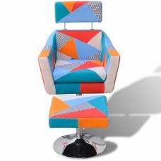 Fauteuil TV tissu Patchwork réglable avec repose-pieds