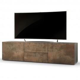 Meuble tv bas 139 cm coloris acier antique