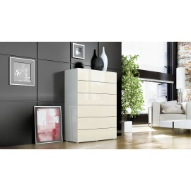 Commode blanche design 6 tiroirs  76 cm