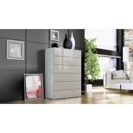 Commode design blanche et grise sablé  6 tiroirs  76 cm