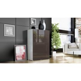 Commode design blanche et chocolat  6 tiroirs  76 cm