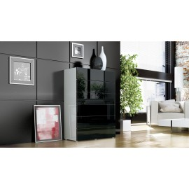 Commode design blanche et noire  6 tiroirs  76 cm