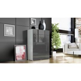 Commode design blanche et noire métallique  6 tiroirs  76 cm