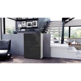 Armoire commode design blanche  et noire  métallique 76 cm