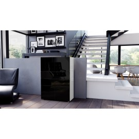 Armoire commode design blanche  et noire  76 cm
